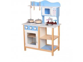 Ecotoys drevena kuchynka modro hneda