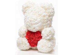 medved z ruzi bily se srdcem 40 cm