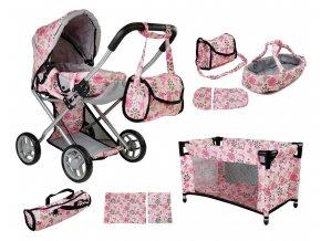Alice kočárek pro panenky 5v1 světle růžový s kytičkami