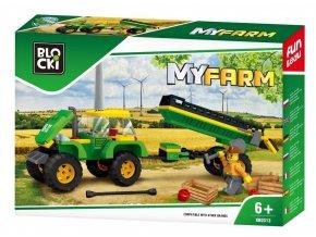 stavebnice Blocki traktor s vleckou 164 dilku