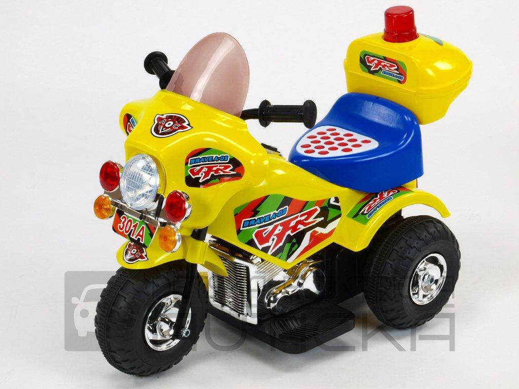 191 30 elektricka motorka motorka policie s hrajicim a blikajicim majakem klaksonem muzikou led osvetlenim otviracim kufrikem 6v zluta