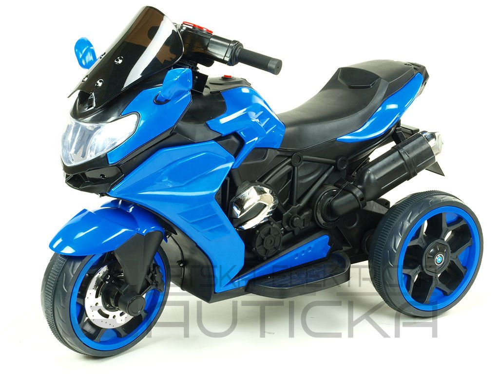 239 19 elektricka motorka tricykl dragon s mohutnymi vyfuky modra