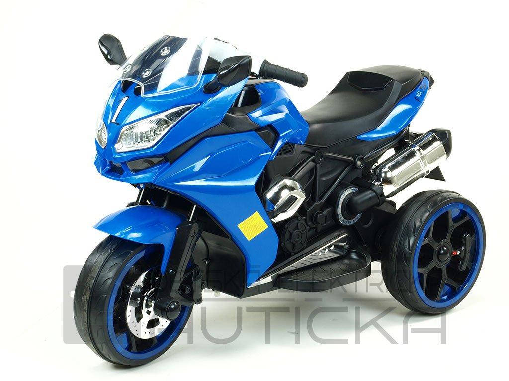 248 22 elektricka motorka tricykl dragon s osvetlenymi koly motory 2x6v perovanim napravy led osvetleni modra barva
