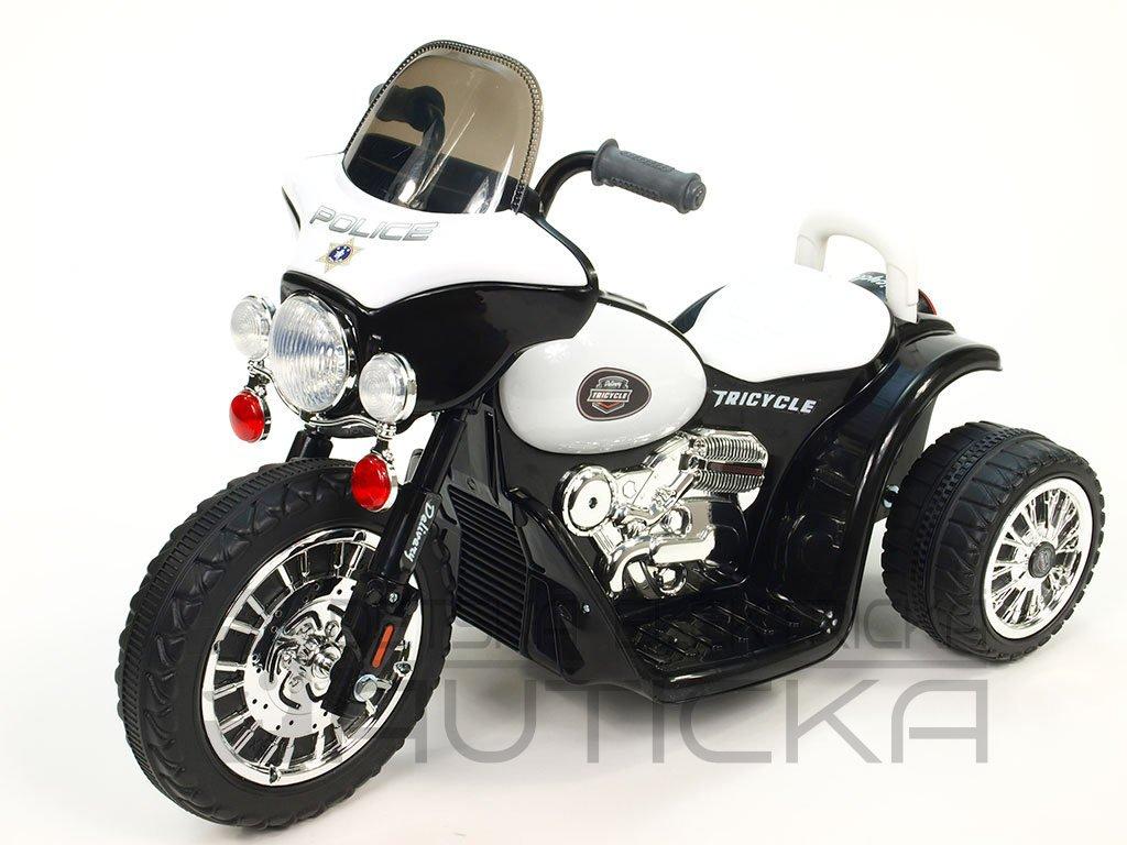 266 10 elektricka motorka chopper na masivnich kolech 6v cerna barva