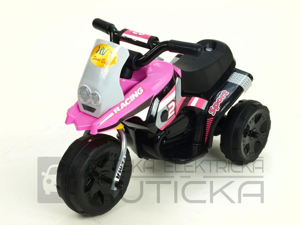 290 11 elektricka motorka racing sport 6v s 2 svetly a hudbou pro nejmensi ruzova