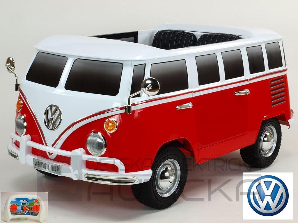 494 27 elektricke auticko dvoumistny volkswagen transporter samba bus s 2 4g do otviracimi dvermi perovanim originalnim zvukem eva koly usb tf mp3 cerveny