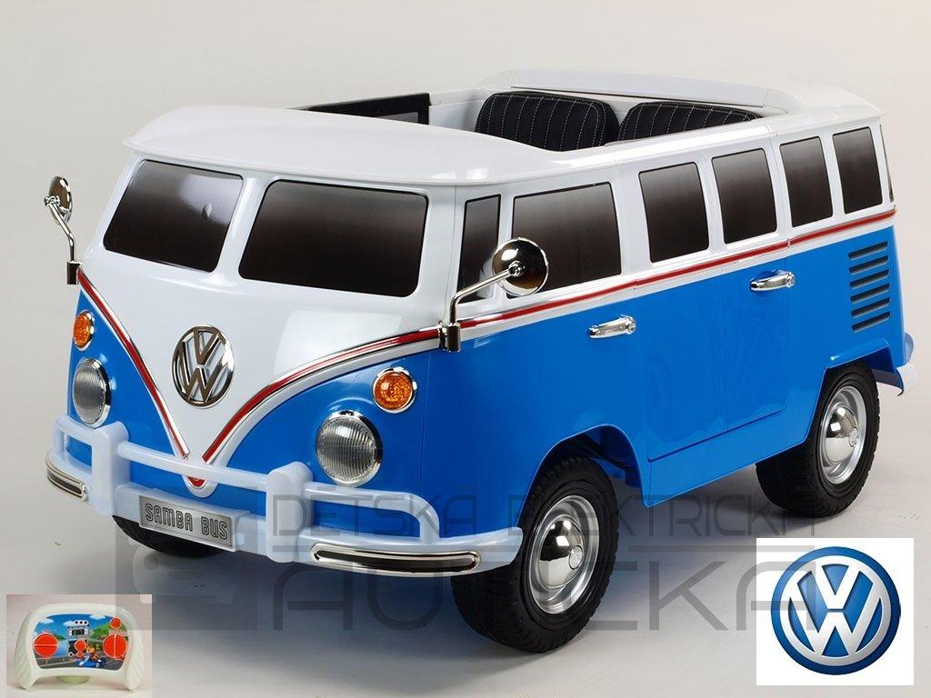 500 28 elektricke auticko dvoumistny volkswagen transporter samba bus s 2 4g do otviracimi dvermi perovanim originalnim zvukem eva koly usb tf mp3 modry