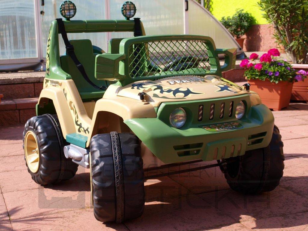 605 16 elektricke auticko dvoumistny velky dzip styl wrangler 12v 2x velike motory 2 samostatne sedacky army barva