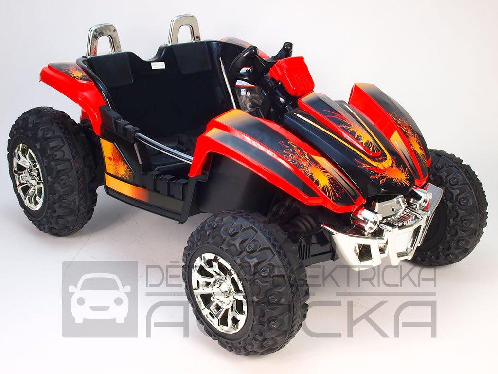 830 12 elektricke auticko elektricka dvoumistna bugyna 3 rychlosti 2 motory 12v cervena