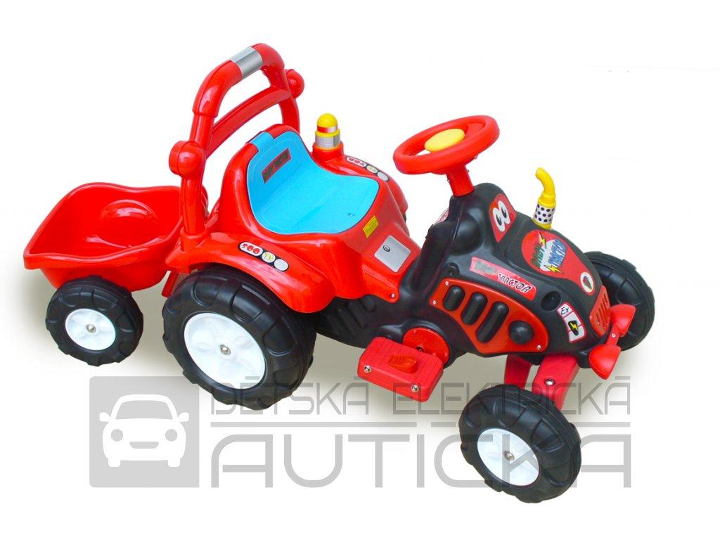 875 18 detsky elektricky traktor s vlekem a naradim cerveny