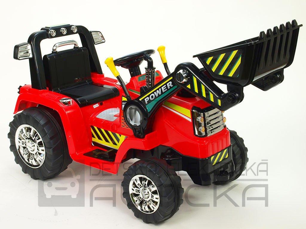 902 23 elektricke auticko traktor s ovladatelnou lzici 12v mohutnymi koly a konstrukci zvukovymi a svetelnymi efekty 2xnahon cerveny