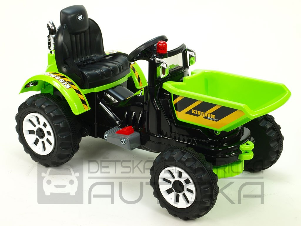 905 18 detsky elektricky traktor kingdom 12v s vyklopnou korbou zeleny