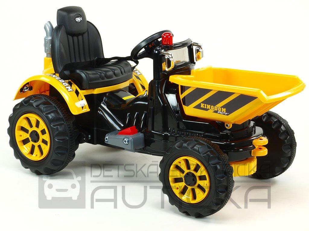 935 19 detsky elektricky traktor kingdom 12v s vyklopnou korbou zluty
