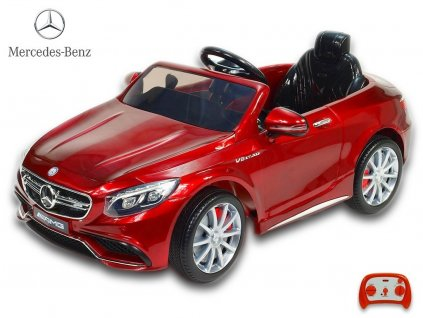 Elektrické autíčko Mercedes - Benz S63 AMG, s 2.4G DO, pérováním obou náprav, lakovaný vínovou metalízou