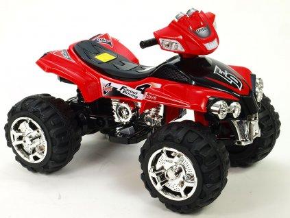 1107 16 elektricka ctyrkolka fd sport na velikych kolech 4 rychlosti zvukove efekty 2xmotor 12v cervena