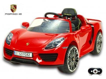 Elektrické autíčko Porsche 918 Spyder s 2.4G DO, multifunkčním volantem, otvíracími dveřmi, výsuvným křídlem, FM, Mp3, 12V