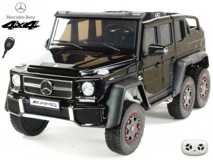 Elektrické autíčko 6 kolový Mercedes-AMG G63 4x4 dvoumístný s 2,4G DO, otevíracími dveřmi, MP3, LED osvětlením, EVA koly, černá metalíza