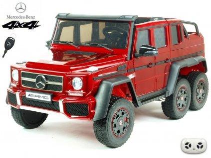 Elektrické autíčko 6 kolový Mercedes-AMG G63 4x4 dvoumístný s 2,4G DO, otevíracími dveřmi, MP3, LED osvětlením, odpružením, EVA koly, vínová metalíza