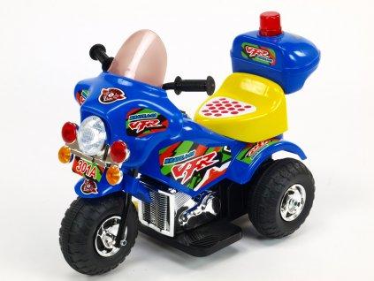 188 29 elektricka motorka motorka policie s hrajicim a blikajicim majakem klaksonem muzikou led osvetlenim otviracim kufrikem 6v modra