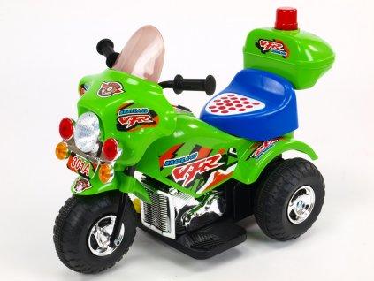 194 30 elektricka motorka motorka policie s hrajicim a blikajicim majakem klaksonem muzikou led osvetlenim otviracim kufrikem 6v zelena