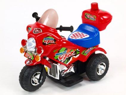 197 31 elektricka motorka motorka policie s hrajicim a blikajicim majakem klaksonem muzikou led osvetlenim otviracim kufrikem 6v cervena