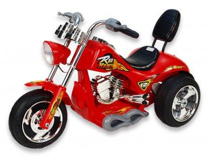 Elektrická motorka rychlý chopper Red Hawk, s náhonem obou zadních kol, 12V