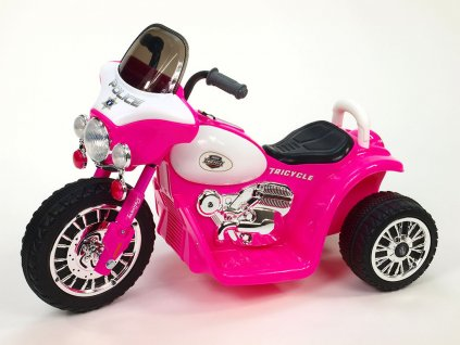 275 9 elektricka motorka chopper na masivnich kolech 6v ruzova barva