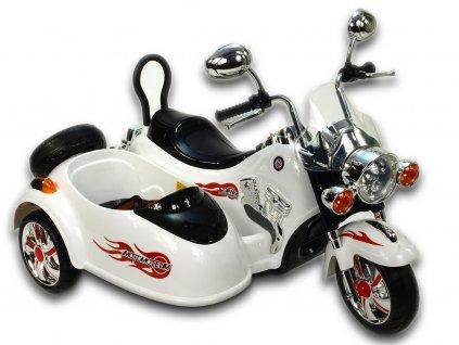 Dětská elektrická motorka se sajdkárou, bílá