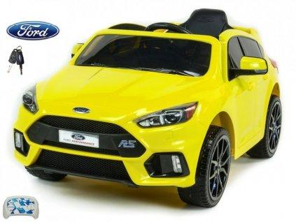 Elektrické autíčko Ford Focus RS s 2.4G DO, FM, USB, TF, Mp3, LED osvětlením, otvíracími dveřmi, pérováním, čalouněnou sedačkou, EVA koly, žlutý