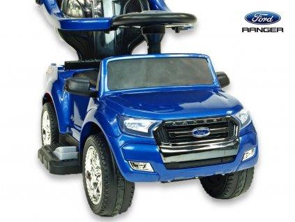 Elektrické autíčko Ford Ranger pro nejmenší, 6V  s vodící tyčí, stříškou, madly, 2 opěrky, Mp3, TF card, lakovaná modrá metalíza