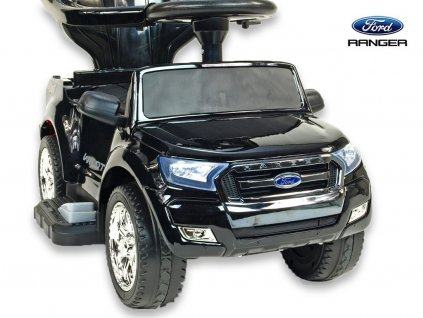Elektrické autíčko Ford Ranger pro nejmenší, 6V  s vodící tyčí, stříškou, madly, 2 opěrky, Mp3, TF card, lakovaná černá metalíza