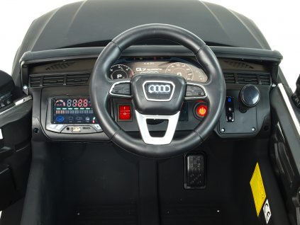 Elektrické autíčko Audi Q7 NEW s 2,4G DO, otvíracími dveřmi, FM, USB, čalouněním, pérováním, EVA koly, LED osvícením, černá metalíza, délka 118cm, 12V