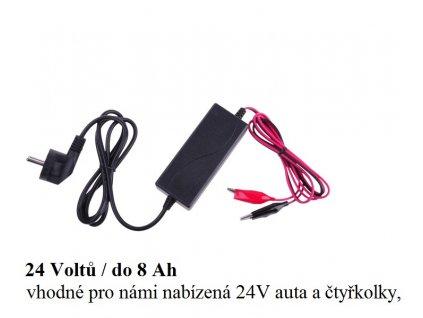 Nabíječka gelových 24V baterií (0.8 až 8Ah) s LED ukazatelem
