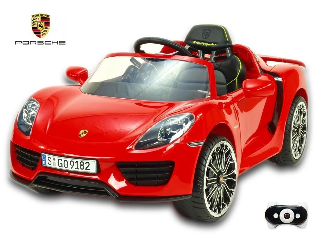 Toys elektrické autíčko Porsche 918 Spyder s 2.4G DO, multifunkčním volantem, otvíracími dveřmi, výsuvným křídlem, FM, Mp3, 12V