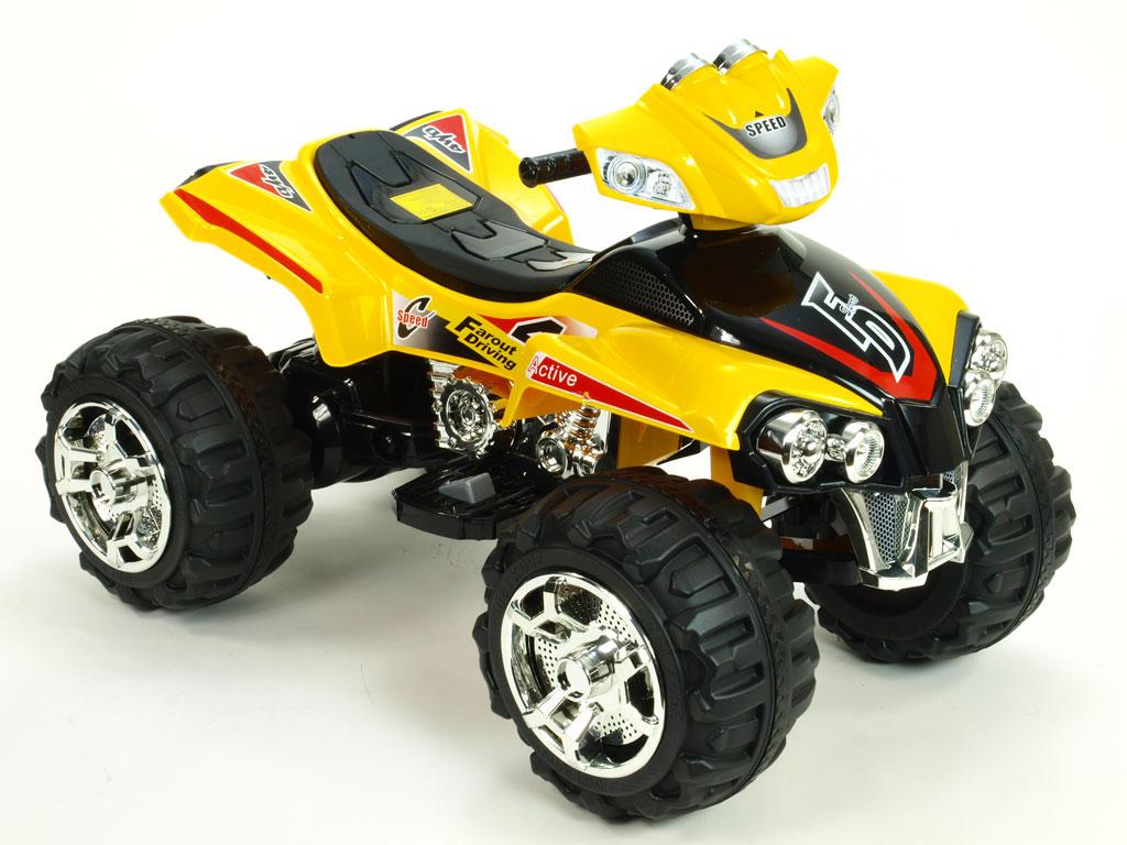 DEA Elektrická čtyřkolka FD Sport na velikých kolech, 4 rychlosti, zvukové efekty, 2xmotor, 12V, žlutá