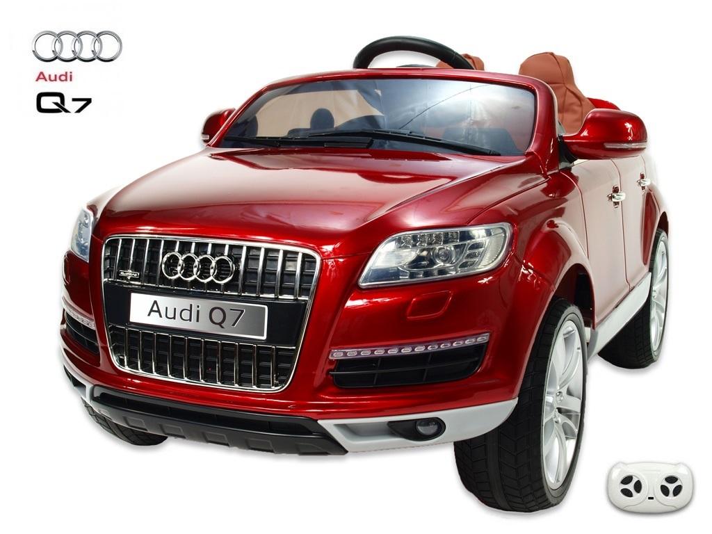 Toys elektrické autíčko Audi Q7, xenony, barva vínová metalíza