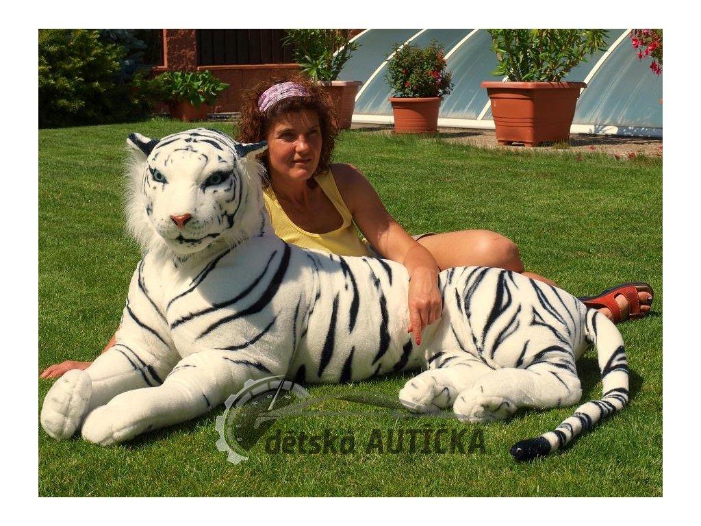 Obrovský plyšový tygr ležící, délka 200cm, bílý