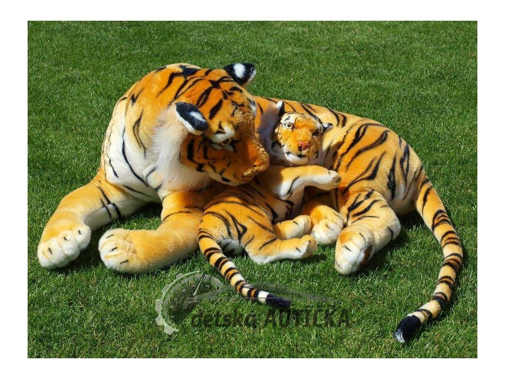 Plyšová tygřice s mládětem, oranžová, délka 140/65 cm