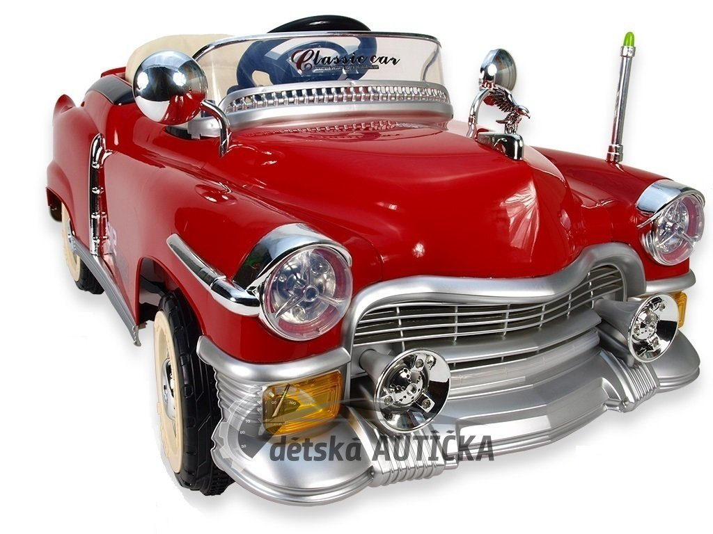 Elektrické auto Retro Kuba s 2.4G DO, plynulým rozjezdem, vlastními klíčky, voltmetrem, LED efekty, čalouněnou sedačkou, 12V, v