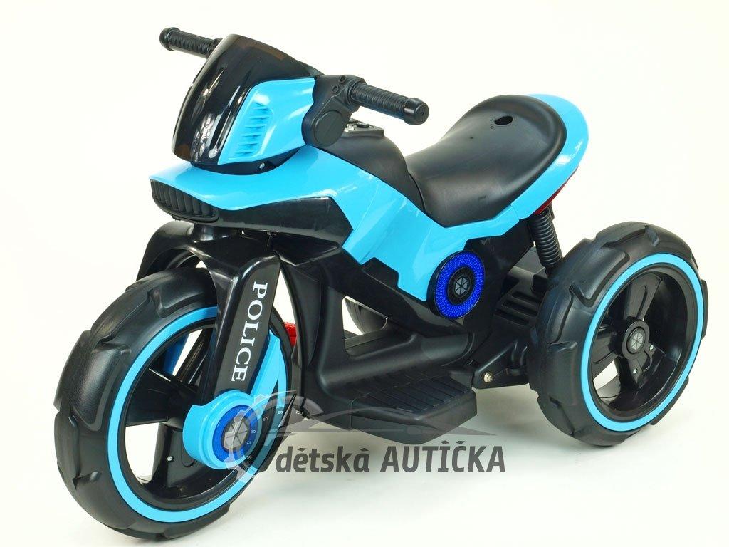 Elektrická motorka fantastická POLICE na velikých EVA kolech, atraktivní design, USB,TF,Mp3, 2x náhon, 2 motory 6V, modrá