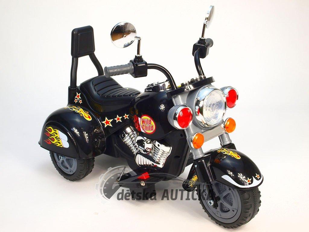 Elektrická motorka Chopper Harley černý Wild, střední velikost, pro kluky i holky, 1 motor, 6V
