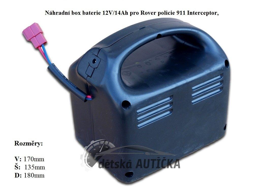 Náhradní box s baterií 12V/14Ah pro Rover policie Interceptor 911, s nabíjením mimo auta,