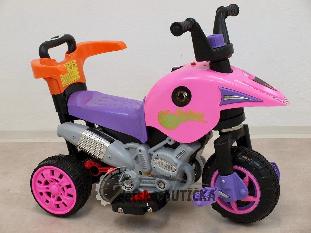 Elektrická motorka 3V1 s výsuvnou vodící tyčí, šlapkami, jízda na motor, šlapáním, tlačením madla, růžová