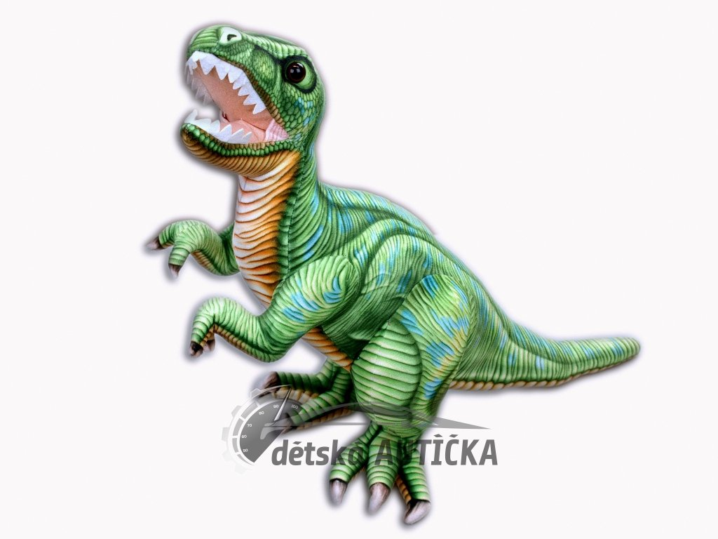 Plyšový stojící dinosaurus Tyranosaurus Rex, výška 48 cm, délka 70 cm, střední