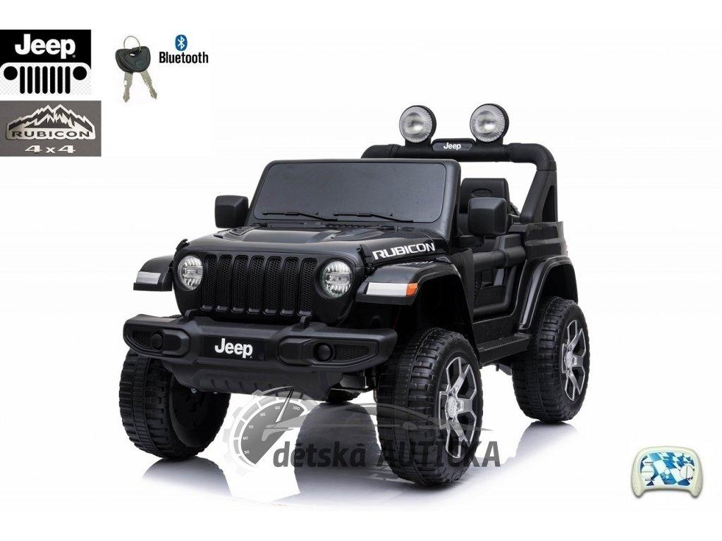 Elektrický džíp Jeep Wrangler Rubicon, 4x4, 2.4G DO, FM, bluetooth, USB, čalouněná sedačka, EVA kola, lakovaný černý