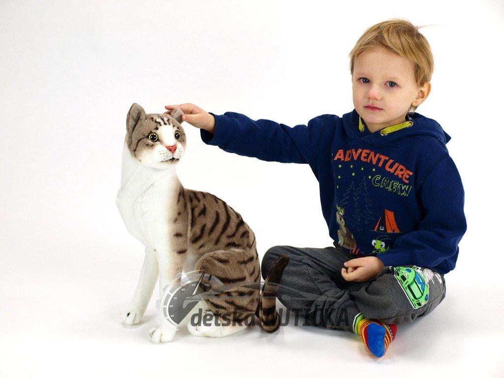 Plyšová sedící kočka Micka domácí, výška 45 cm,