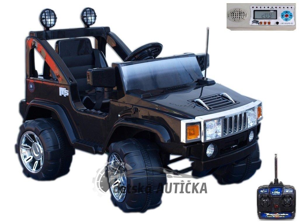 Elektrický džíp Humvy jednomístný s dálkovým ovládáním, FM rádiem, vstupem MP3, hodinami, voltmetrem, sedačkou 34 cm, 12V,