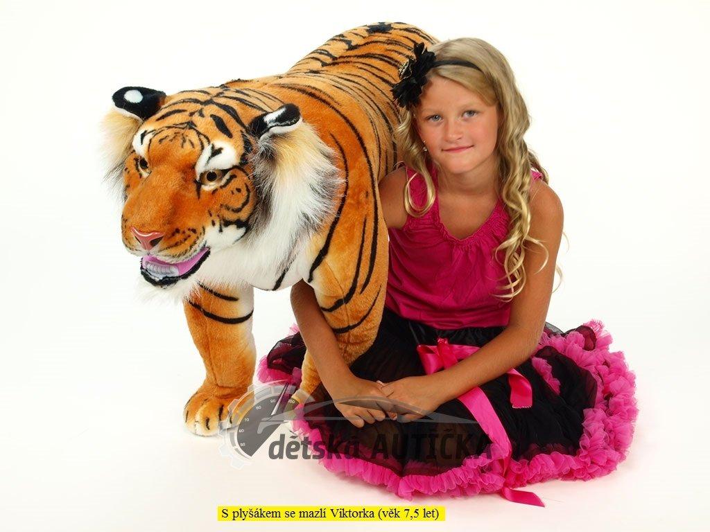 Plyšový stojící tygr oranžový, délky 178 cm,