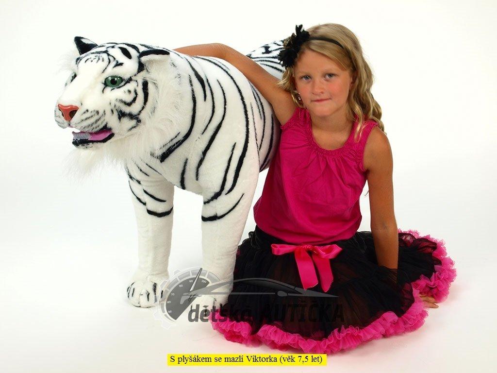Plyšový stojící tygr bílý, délky 178 cm