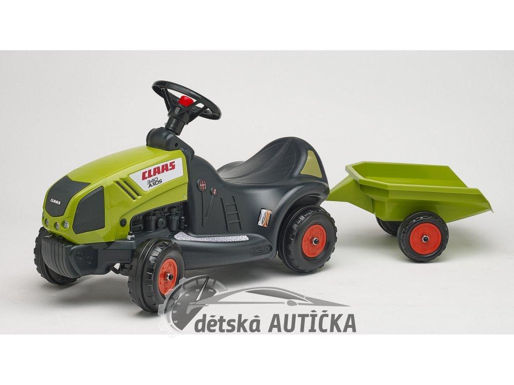 Odrážedlo traktor Baby Claas Axos 340 s 2 kolovým valníkem, délka 121cm, Made in France,